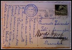 Retro della Cartolina 1956 (The_Black Sheep) Tags: locarno 1956 helvetia cartolina scritta abbandono francobollo cardada timbro montidigerra