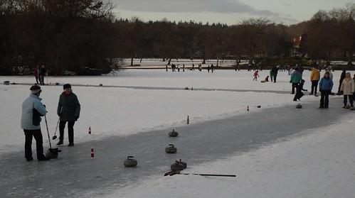 A curling match.
