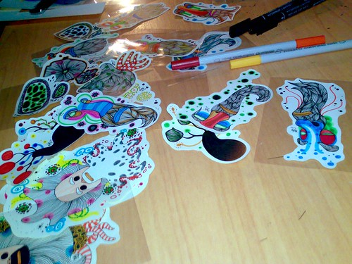 hand drawn stickers - in progress