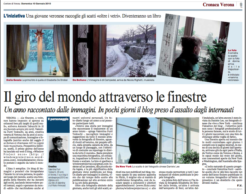 Article - Corriere di Verona - 10/01/2010