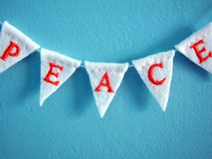 peace banner (Kleas') Tags: new orange for peace embroidery year banner felt wishes peacebanner