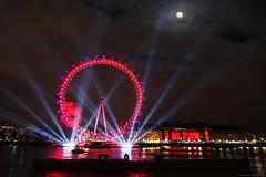 London Eye Full Moon (AdamNoosa) Tags: christmas new eve uk red england moon reflection adam london eye wheel thames giant lights day fireworks year full years 2009 gormley 2010 fiatlux