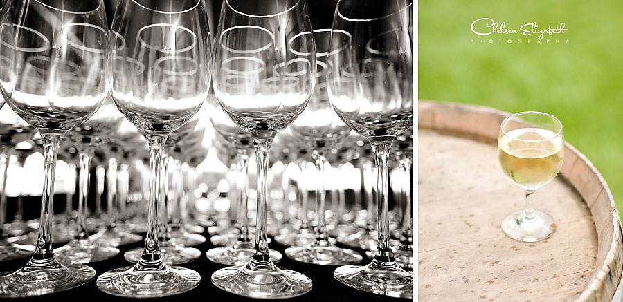 wedding glasses and white wine wedding reception detail