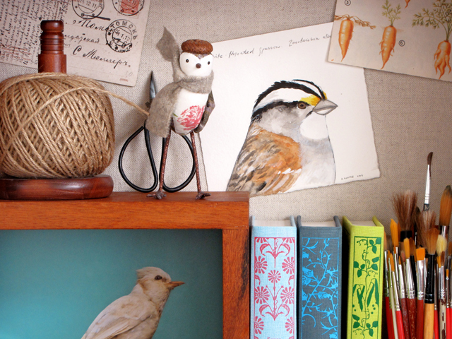 Birdies on my mind & on my shelf.
