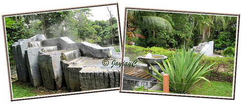 Cascading hot springs at Felda Residence Hot Springs, Sungkai