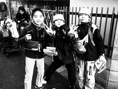 166/365: Boys with Guns (joyjwaller) Tags: people blackandwhite japan kids pose toys tokyo cool guns weaponry fleamarket gotokuji project365 japaneseboys theyreonamissionandyouyaintgonnastopem
