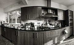 Panorama - spring cleaning the kitchen prior to re-decorating (louisahennessysuɹoɥƃuıʞıʌ) Tags: blackandwhite panorama kitchen decorating 18365 ppt3652010