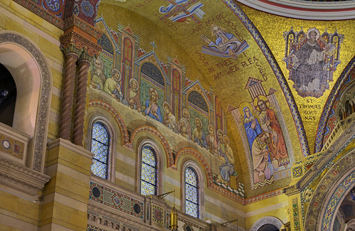Cathedral Basilica of Saint Louis, in Saint Louis, Missouri, USA - mosaic of Last Supper in sanctuary