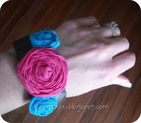 Fabric Flower Bangle Bracelet2