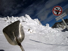 """Translated """"you'll need this shovel"""" (JasonCondie) Tags: travel friends italy mountain snow france mountains snowboarding bars scenery skiing dancing drinking alpine skiresort bowling clubs superheroes pubs breakdancing chamonix icicles boarding montblanc stunts 20splenty january2010"""