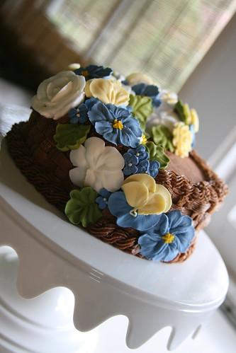 Spring basketweave cake