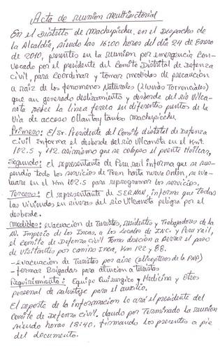 Acta de reunión multisectioral - Machu Picchu