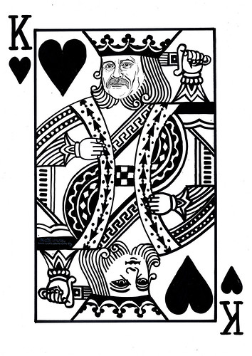 Caricature on King heart poker card