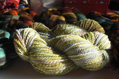 2 skeins Rambouillet yarn, total ~ 466yds, 8-10 WPI, 2-ply-6