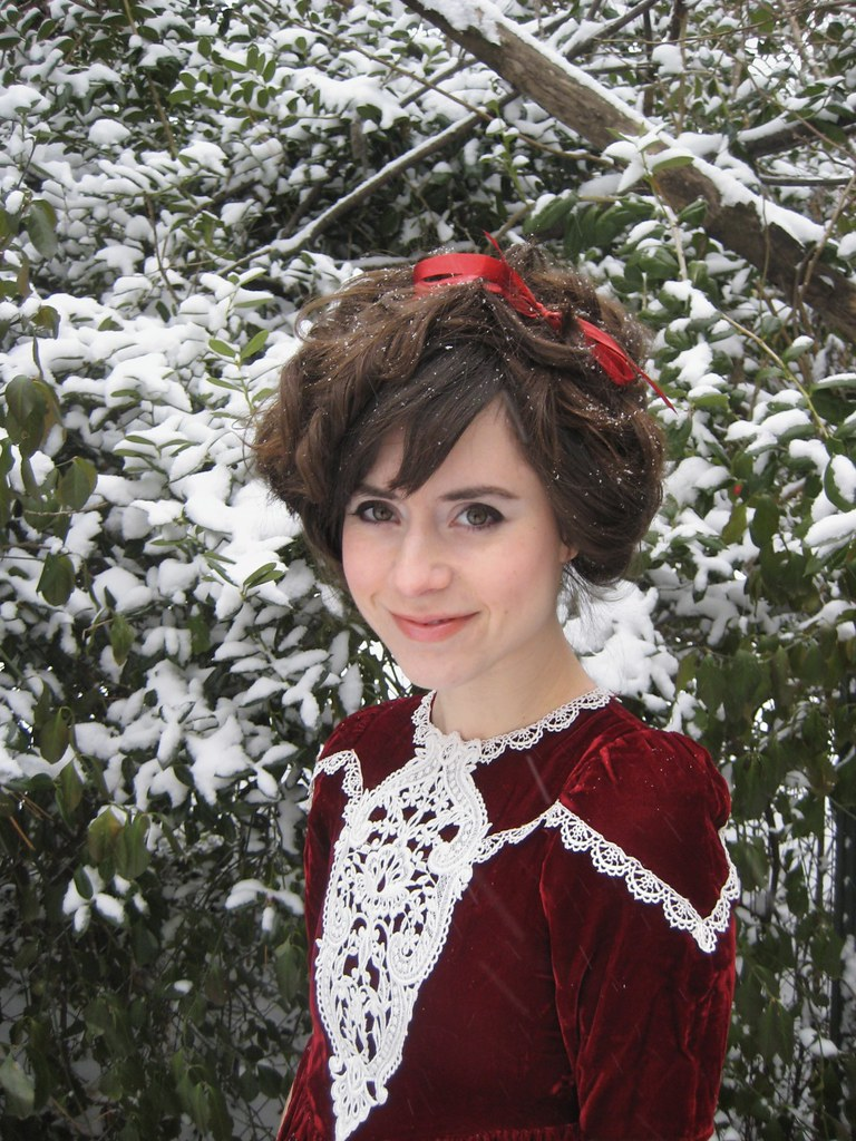 edwardian hair and a gunne sax dress