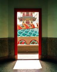 Shhhh, dragon passing by (deepstoat) Tags: shadow red colour 120 mediumformat pagoda dragon taiwan doorway mamiya7ii kodakportra bestoftaiwan deepstoat