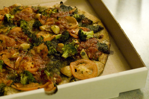 our first takeout vegan pizza