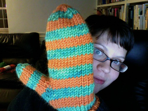 stripey mitten for seth