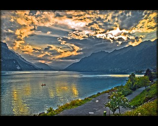 - Switzerland Thunsee sunset. August 27,2009 18:59