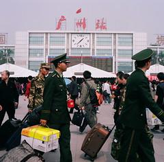 (mb17chung) Tags: guangzhou china people slr 120 6x6 film square waiting uniform kodak chinese floating bronica medium format migration population sq portra f28 internal   migrant 80mm 160nc   sqai zenzanon
