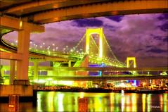 Over the Rainbow (Daifuku Sensei) Tags: japan geotagged tokyo nikon hdr rainbowbridge d300 metropolitanexpressway singleexposurehdr nikon35mmf18dx xritecolorcheckerpassport 353816n 1394515e geo:lat=35637907 geo:lon=139754098 youkchanayachanmarichancchantamichanflorencephotoadventure