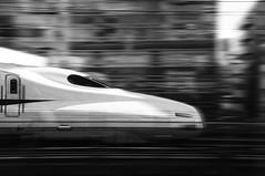 after all, boys like Shinkansen (sinkdd) Tags: bw monochrome japan tokyo blackwhite nikon jr  nikkor panning shinkansen  18200mm d90 panningshot nozomisuperexpress blackwhitephotos nikond90 sinkdd