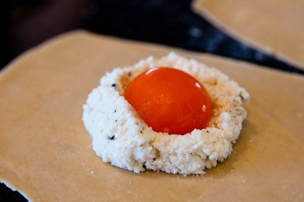 Oozy egg ravioli