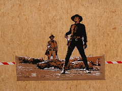 West (Tian (Chris a.k.a)) Tags: street urban streetart france art painting paper movie stencil europe paint acrylic tian spray peinture painter aerosol papier lemans bombe sergioleone pochoir charlesbronson henryfonda onceuponatimeinthewest ian