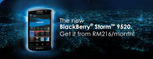 Get the new BlackBerry Storm 2 9520 from only RM216/month