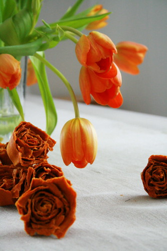Tulips and cardboard roses