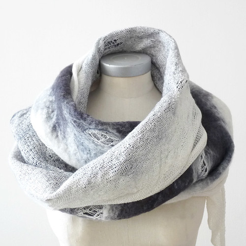 felted knitted blue scarf