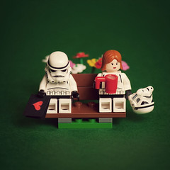 Courting Danger (Balakov) Tags: flowers love bench star heart lego valentine stormtrooper wars courting shyness