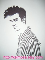 morrissey 003 (Large) (Kelmosa) Tags: blackandwhite musician music art silhouette hair drawing morrissey stripes icon 80s depression marker celebrities sharpie theclarks