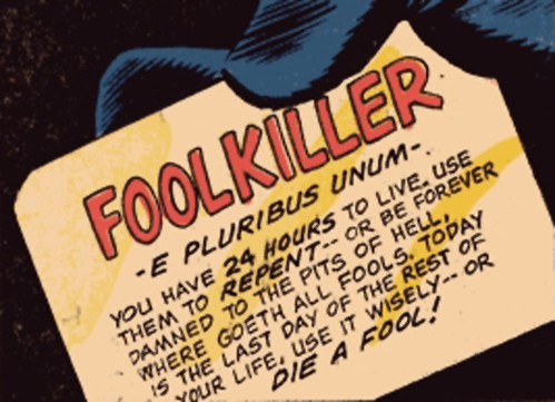 Foolkiller One's mash note, first seen in Man-Thing #3.