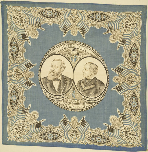 "Benjamin Harrison-Morton ""Protection Home Industries"" Portrait Handkerchief, ca. 1888"