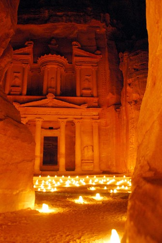 the treasury by candlelight, petra
