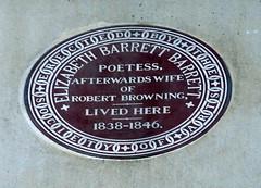 Photo of Elizabeth Barrett Browning brown plaque
