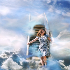 scenic view... (~lala~(Lisa)) Tags: blue portrait sky art texture me composite fairytale clouds stairs self myself stars model nikon artistic air dream lisa selfportrati overlay poetic stairway sp layers 365 magical visualpoetry selfie scenicview d90 365days i nikond90 stillcatchingup ~lala~ project36612010 365days2010