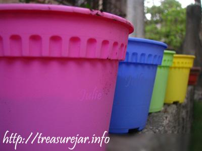 Multicolored Plastic Pots