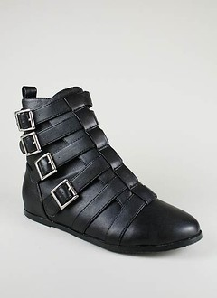 buckled strap bootie