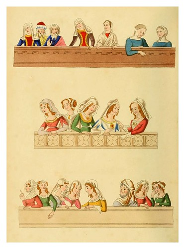 011-Tocados del siglo XIV-Dresses and decorations of the Middle Ages 1843- Henry Shaw