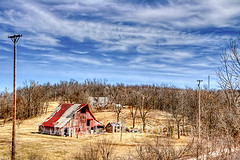 Neosho Barn (Uncle Phooey) Tags: blue red barn rural farm scenic rusty explore missouri ozarks hdr tinroof dilapidated latewinter jetcontrails unusualsky southwestmissouri unclephooey neoshobarn scenicmissouri