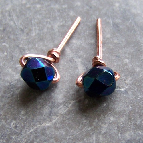 Copper and blue glass stud earrings
