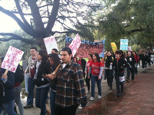 Protesters march at UC Davis on March 4, 2010