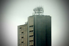 Data in the cloud... (obLiterated) Tags: blurred southbank antennas lowcontrast highquality phoneexchange buildingsandarchitecture microwavedishes datatransfer