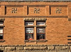 Swastika Building - Downtown Farmington, New Mexico USA (FotoEdge) Tags: windows usa newmexico southwest building stone corner photography ancient stonework bricks nazi swastika mysterious symbols brickwork tonybennett remnant emblems fotoedge