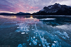 pink champagne (Mac Danzig Photography) Tags: canada ice sunrise landscape frozen bubbles rockymountains canadianrockies tnc11