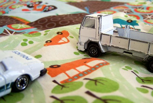 Vintage Toy Cars on Patchwork Play Mat