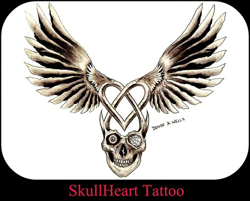 faith tattoo designs. SkullHeart Tattoo by Denise A.