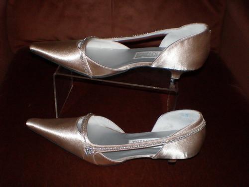 Satin and rhinestones decorate Camillae designer bridal shoes